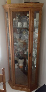 Lighting Corner Oak China Cabinet