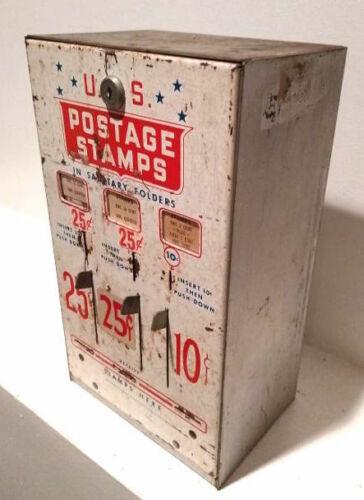 Post Office Stamp Dispenser Vintage 25 10 Cent 3 Slot US Postal Machine with Key