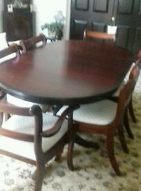 Dining Table and 6 Chairs with Extension Piece
