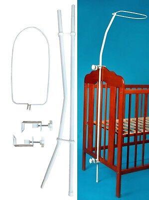 Himmelstange für Babybett Gitterbett Universal zum Klemmen Weiß Neu EU-Produkt