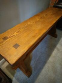 vintage pitch pine heavy old kitchen hall bench