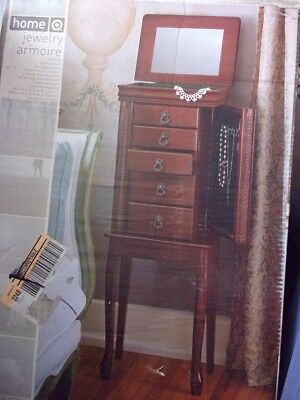 Heritage Cherry Wood Standing Jewelry Armoire w/ Mirror 40