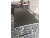 Black glass and Chrome 6 top dining table