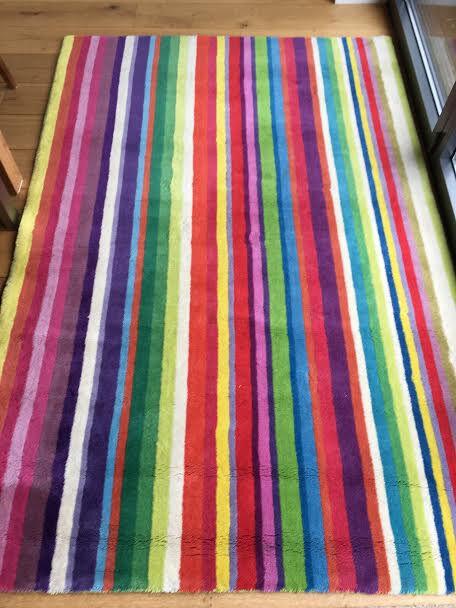 Ikea Strib Large Rug Bright Stripes 100 Wool 135cm X 200cm