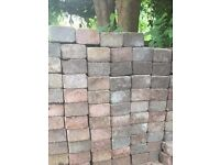 143 small Tumble Paving Blocks - Patio / Driveway - 95mm x 95mm - mixed colours