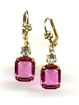 GORGEOUS Antique Rose Pink Earrings with Swarovski crystals 14K Gold gp Levers
