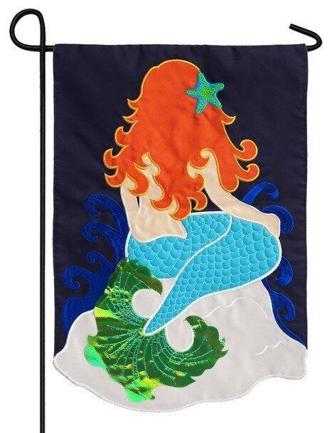"Mermaid 168431BL Evergreen Applique Garden Flag 12.5"" x 18"
