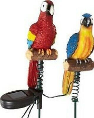 Solar Jungle Birds Parrots Garden Lights SET OF 2 Statue Outdoor Resin & Stakes