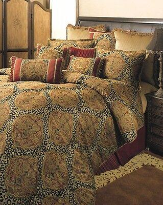 4pc designer brown gold damask animal print