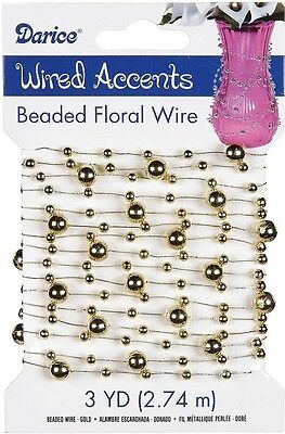 Beaded Floral Wire Garland 3 Yards Pkg Gold Wired Accents Flower Craft Free Ship