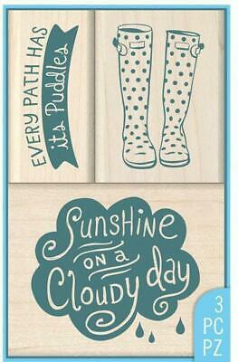 Rainy Day Rubber - RAINY DAY Rubber Stamps 60-10175 Inkadinkado 3 pc set Brand NEW! boots cloud