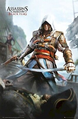 ASSASSIN'S CREED IV ~ EDWARD KENWAY W/ SWORD 24x36 VIDEO GAME POSTER Black Flag - Assassin's Creed Edward Kenway