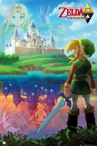 LEGEND-OF-ZELDA-POSTER-LINK-BETWEEN-WORLDS-24x36-Video-Game-Castle-Sword