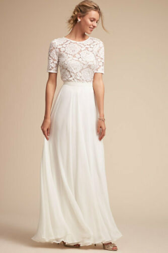 BHLDN Jive White Lace Stretch Top w/ Nude Cami Wedding Topper Floral Size L NEW