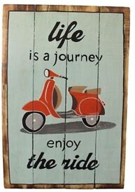 """Rough wooden sign """" life's a journey"""""""