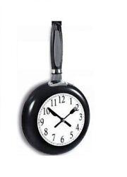Black Metal Frying Pan Kitchen Wall Clock - Fry Pan Battery Operated Clocks