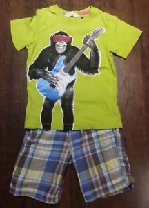 4T Boys 2-Piece Summer Outfit (H&M Chimp T & Shorts)