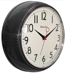 Westclox Retro Black Kitchen 9.5 Wall Clock Second Hand Battery from US Seller