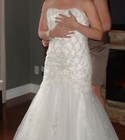 Ivory wedding dress, shoes and veil for sale