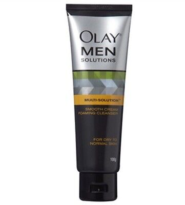 Olay Men Solutions Smooth Cream Foaming Cleanser For Dry To Normal Skin 100g - Olay Dry Skin Cleanser