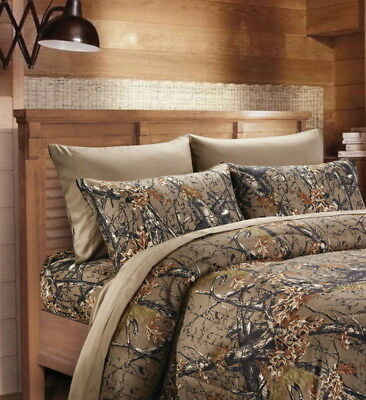 - NATURAL BROWN CAMO SHEET SET!! FULL SIZE BEDDING 6 PC CAMOUFLAGE LIGHT WOODS