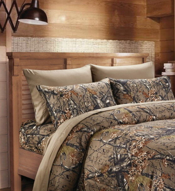 4 PILLOWCASES CAMOUFLAGE FLAT FITTED NATURAL BROWN CAMO 6pc Queen Sheet set