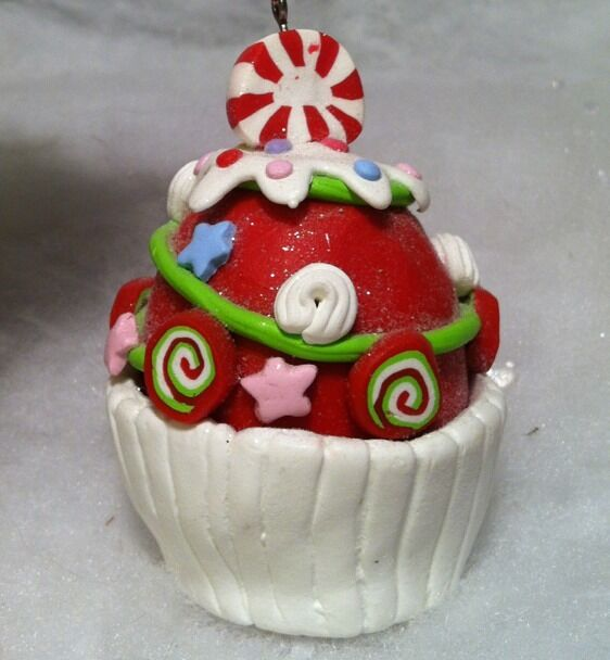 Peppermint candy Cupcake Christmas tree ornament