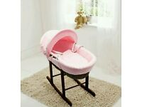 Kinder valley pink Dimple with Dark Wicker moses basket. Brand new 3 left in stock.