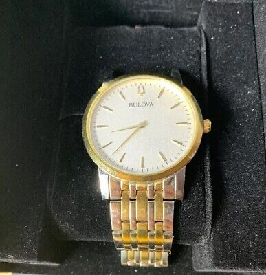Bulova 98A208 Men's Two Tone White Dial Stainless Steel Watch DETACHED BAND Bulova Two Tone Bands
