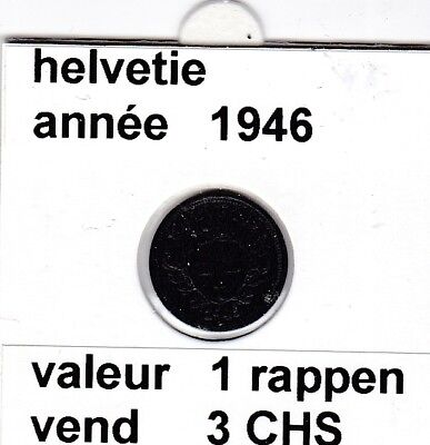 S 2 ) pieces suisse de 1 rappen  de 1946    voir description