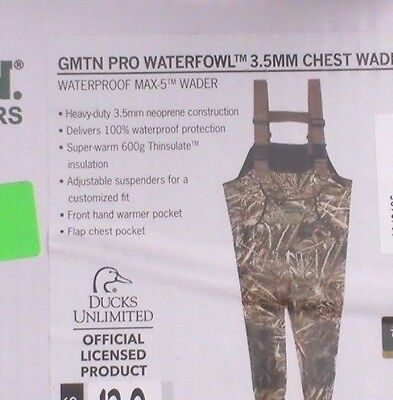 Gander Mountain Womens Unlimited Pro Waterfowl Chest Wader 600g 3.5mm Size 8