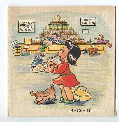 VINTAGE GROCERY STORE FOOD STAMPS MARKET FRUIT CANNED GOODS DOG ART CARD PRINT