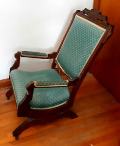 Antique 1880's Eastlake Victorian Upholstered Rocking Chair
