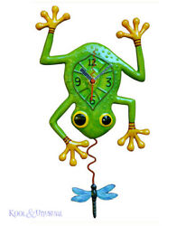 Beautiful Green FROG AND DRAGONFLY Designer Wall Clock by Allen Designs