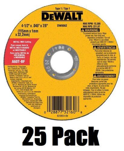 """(25) DeWalt DW8062 4-1/2"""" x .045 x 7/8"""" Metal Thin Cut-Off Wheels"""