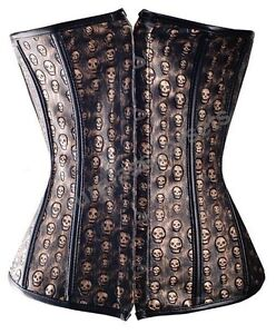 Corset-Gothic-Skulls-Underbust-Faux-Leather-Fashion-Basque-SteamPunk-Fancy-Dress