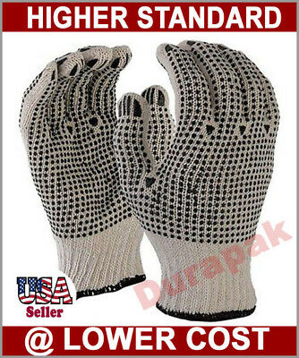 36 Pairs Cotton Work Gloves L Xl W Double Side Pvc Dot Industrial Warehouse.
