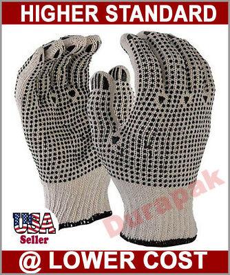 240 Pair Cotton Poly Work Gloves L Xl W Double Side Pvc Dot Extra Grip White