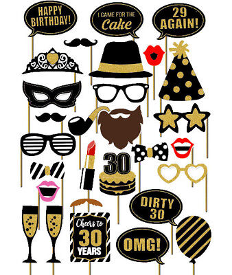 29PCS 30th Thirtieth Year Birthday Party Masks Favor Photo Booth Props US SHIP