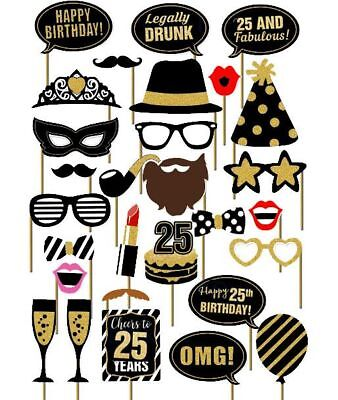 29PCS 25th Old Year Birthday Party Supplies Masks Favor Photo Booth Props