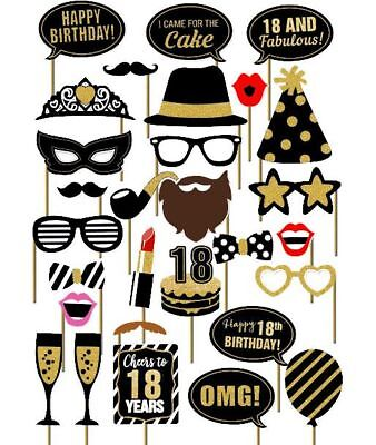 29PCS 18th Old Year Birthday Party Supplies Masks Favor Photo Booth Props  - 18th Birthday Favors