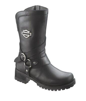(Harley-Davidson® Women's Amber Harness Black Leather Motorcycle Boots D85514)