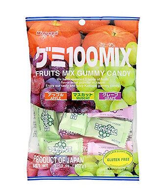 Mix Gummy - KASUGAI 100 Fruit Gummy Candy (Apple, Muscat, Grape, Pineapple, Assortment Mix)