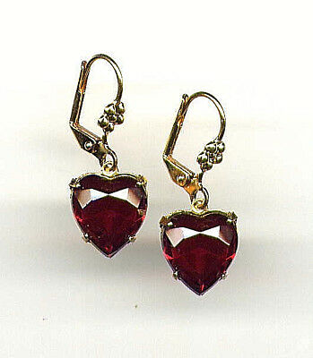Beautiful Victorian Bohemian GARNET ❤️ HEART cut-crystal Earrings 14K Gold gp 14k Garnet Heart Earrings