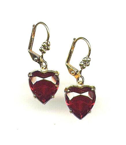 Beautiful Victorian Bohemian GARNET ❤️ HEART cut-crystal Earrings 14K Gold gp