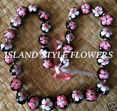Hawaii Wedding PINK WHITE Kukui Nut Lei Graduation Luau Hula Necklace Hibiscus