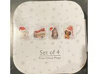 Christmas Mugs, puppy + kitten, set 4, NEW boxed; fine china; Debenhams; santa hats
