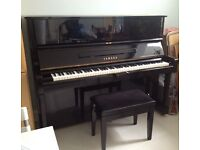 Yamaha U1 Secondhand Black Upright Piano with Adjustable stool - FREE Delivery