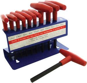 10 Piece T-Handle Hexagonal Hex Allen Torque Keys Tool Set * Wall Mount  I9070