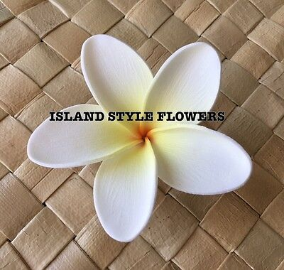 Hawaiian Plumeria  Flower Hair Clip Pick White Yellow Wedding Prom Luau